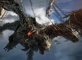 Scary looking flying dragon-like creature with open mouth and fangs