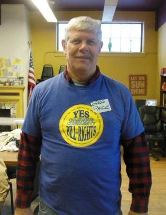 Greg Pace in Columbus Community Bill of Rights shirt