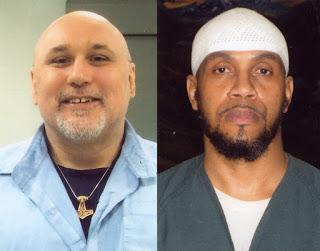 Two photos side by side, two men, on the left is white he is bald with a gold necklace, on the right he is black with a white hat and a beard.