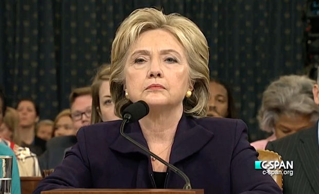 Hillary Clinton looking angry at Congressional hearing