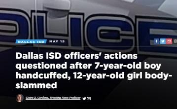 News headline about 7-year-old boy handcuffed and 12-year-old girl slammed