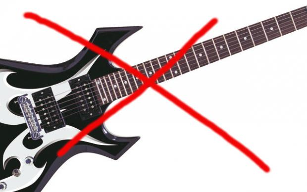 Red X over an electric guitar