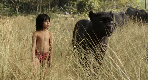 Mowgli (Neel Sethi) and panther friend Bagheera (Ben Kingsley) in The Jungle Book (Disney Enterprises Inc.)