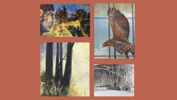 Four paintings one in each corner of a rust colored square, pictured are birds and a scene with snow and a house underneath trees