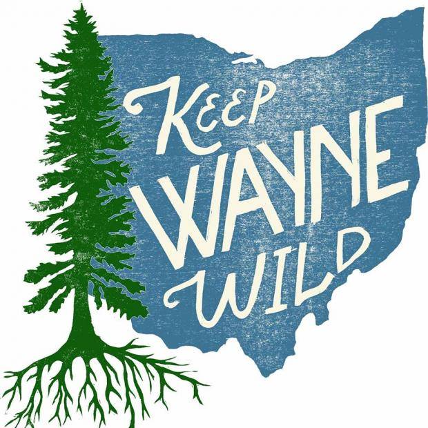 Logo of a pine tree, the state of Ohio in blue and words Keep Wayne Wild