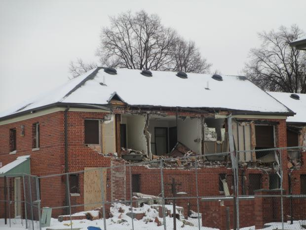 Building being demolished