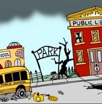 Cartoon of broken down school bus a damaged Park sign and a public school in disrepair