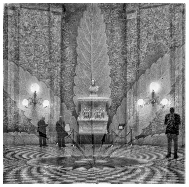 Statehouse rotunda with marijuana leaf superimposed on top
