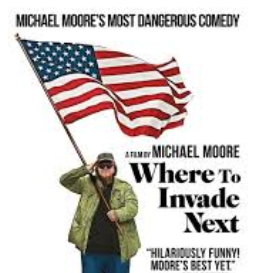 white man with flag and the words Where to Invade next