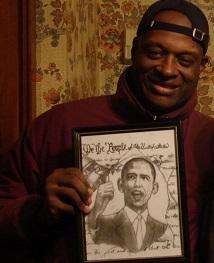 Black man smiling and holding an illustration of Obama
