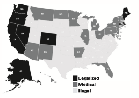 Map with states highlighted that legalized marijuana