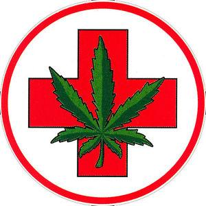 Marijuana leaf on top of a health cross symbol