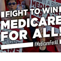 People in the background with picket signs and words Fight to Win Medicare for all