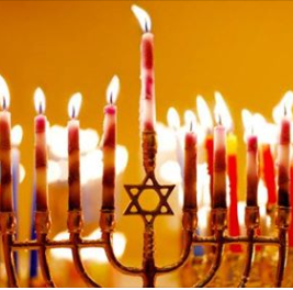 Menorah with lit candles