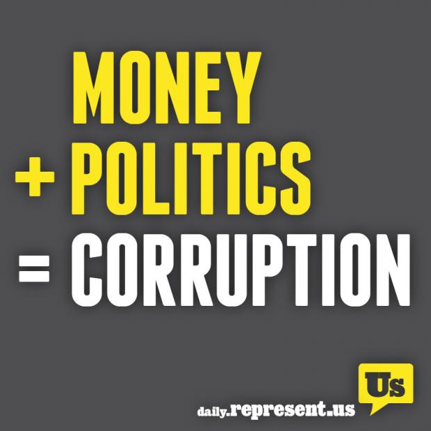 Grey background and words Money + Politics = Corruption