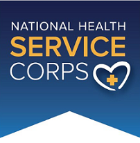 Blue background with words National Health Service Corps and a logo of a heart with a plus sign inside