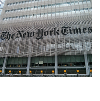 Front of a building with words new York Times on it