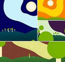 Brightly colored square of environmental scenes