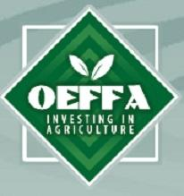 Light blue background with light stripes in a darker blue, a white square behind a green diamond with the letters OEFFA and words Investing in agriculture