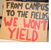 Brown sign that reads From the Campus to the Fields We Won't Yield