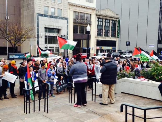 People rallying