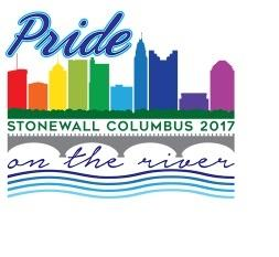 The word Pride, then Stonewall Columbus 2017, and the words on the river with a rainbow colored skyline