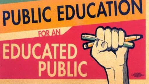 A fist with pencils in it and the words Public Education for an Educated Public