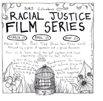 Words Racial Justice Film Series and some hand drawings of flowers and a birdcage