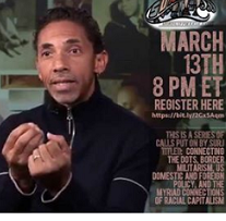 Black man speaking and making hand gestures next to details about the event