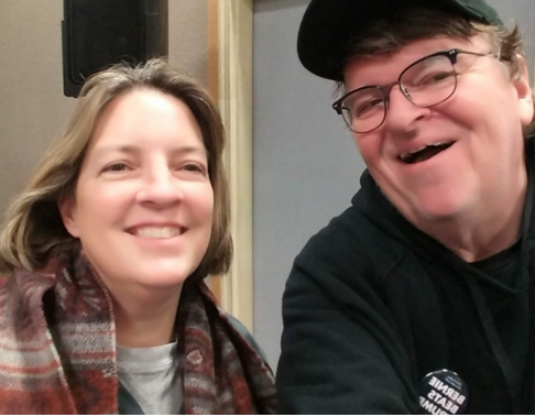 Cathy Cowan Becker and Michael Moore