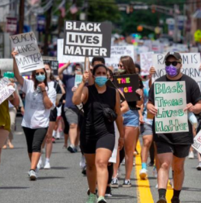 People marching with BLM signs