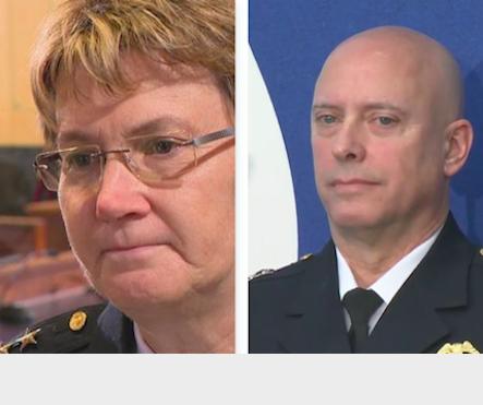 Three photos, female police chief, male police chief