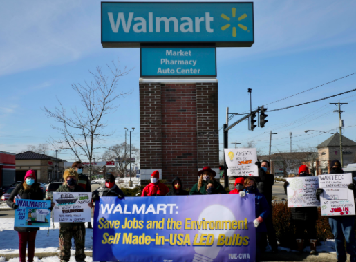 People protesting in front of WalMart