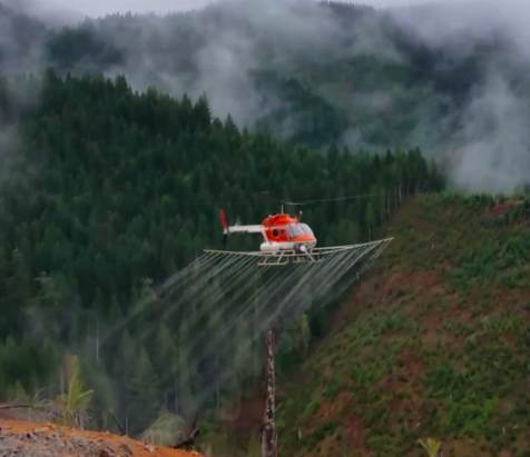 Helicopter spraying the ground