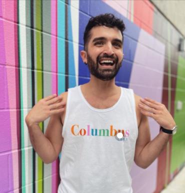Guy wearing Columbus Pride T-shirt