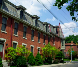 Row of brick apartments