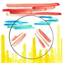 Red and blue watercolor-like paint lines above yellow lines that look like a skyline