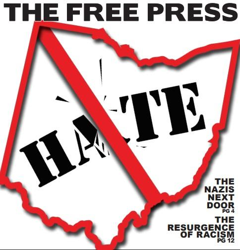 """Red border state of Ohio image with word hate inside and line through it like a """"no"""" sign and the words Free Press on top"""