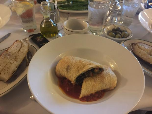 Photo of Vegan Mushroom filled Pastry with grilled asparagus and baked potato