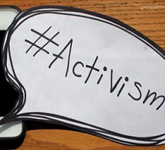 The words hashtag activism