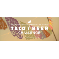 Words Taco Beer Challenge with colorful leaves in the background