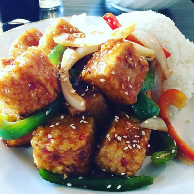 Chunks of marinated tofu with veggies