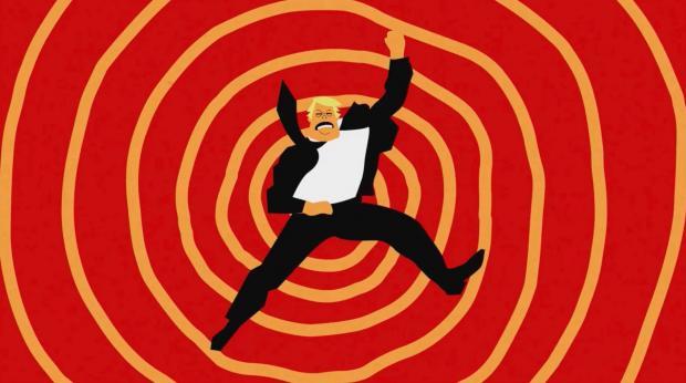 Cartoon man in a spiral