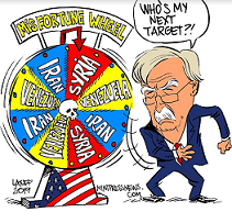 John Bolton comic character, an older man in a suit with white hair, bushy white eyebrows, white mustache and wire rimmed glasses spinning a wheel of misfortune wheel with names of countries like Iran, Syria, Venezuela on it and his bubble words say Who's my next target?