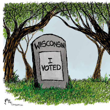 Grave that says Wisconsin I Voted