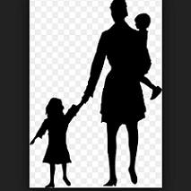 Black silhouette of woman holding the hand of a little girl holding a baby in other arm