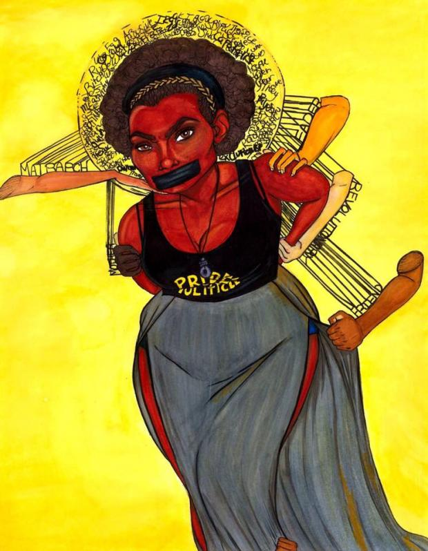 Drawing of black woman with black tape over her mouth with white hands and arms grabbing her from behind