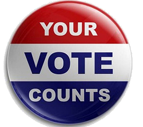 Your vote counts on a button in red white and blue