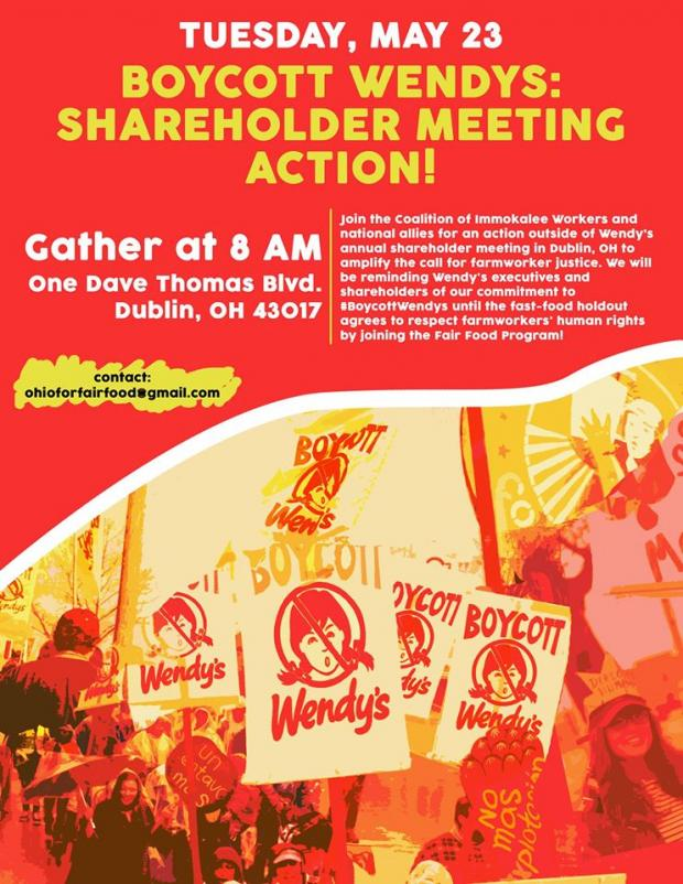 Red and orange picture of people with boycott wendy's signs and details about event