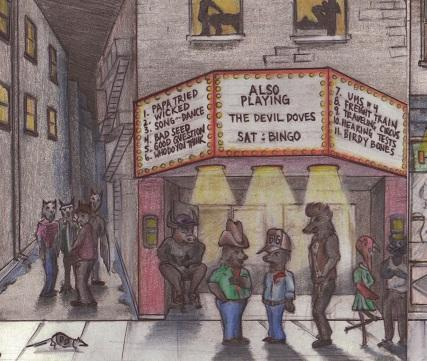 Illustration of movie theater with Also Playing on marquee and strange animal people standing on the street and a rat running by